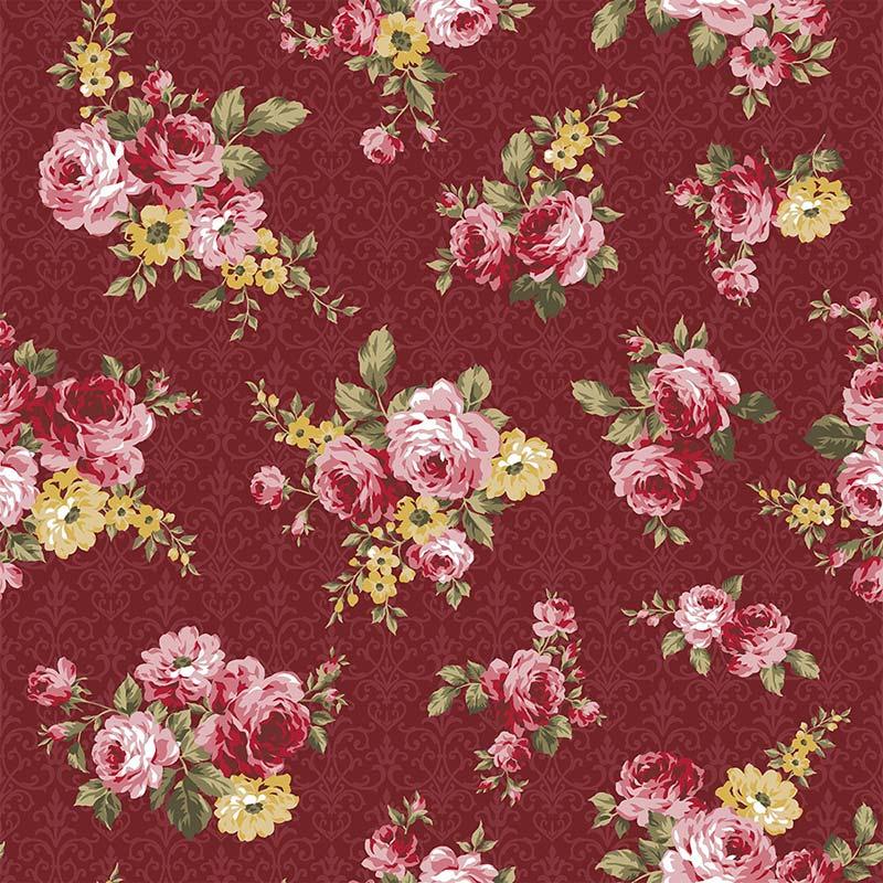 Fabricart Coleção 99 Exuberance - Floral Arabesque Vinho - 50cm X150cm