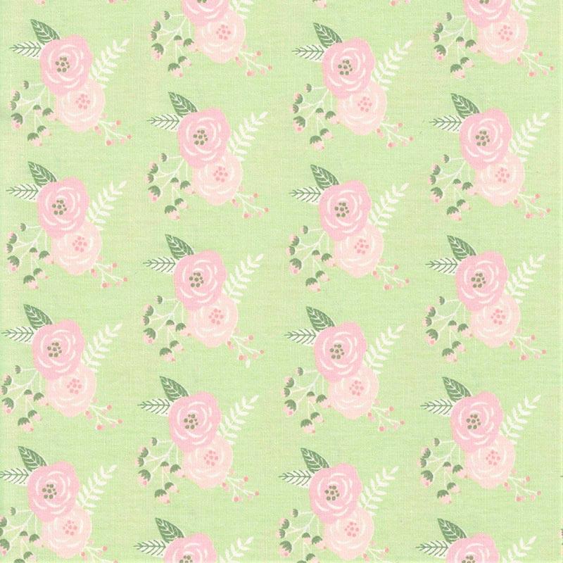 Fabricart Signature - Coleção Shabby - Flor Shabby Verde - 50cm X150cm