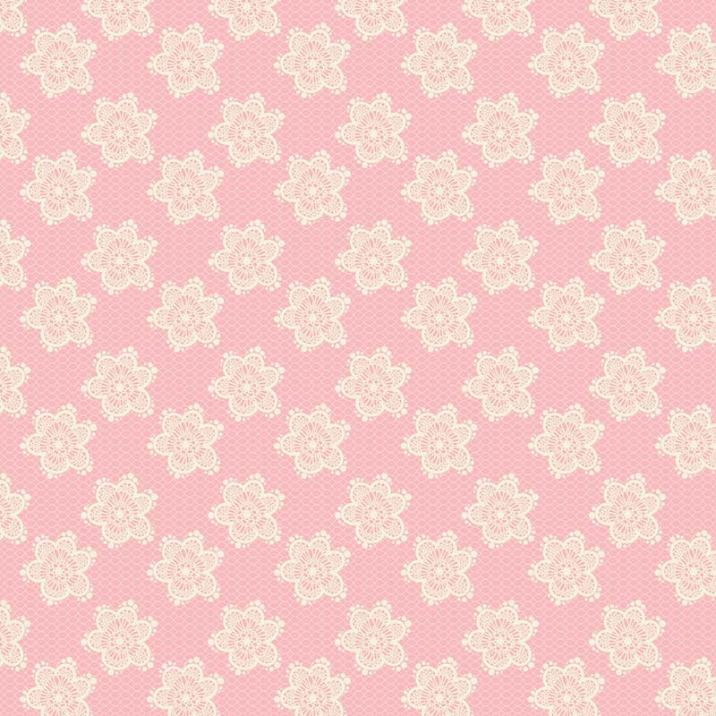Fabricart Coleção Jardim das Flores - Flores Rendadas Rosé  - 50cm X150cm