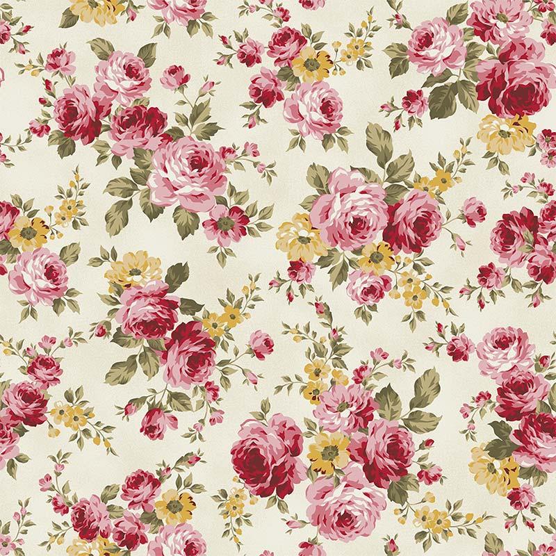 Fabricart Coleção 99 Exuberance - Grand Floral Creme - 50cm X150cm