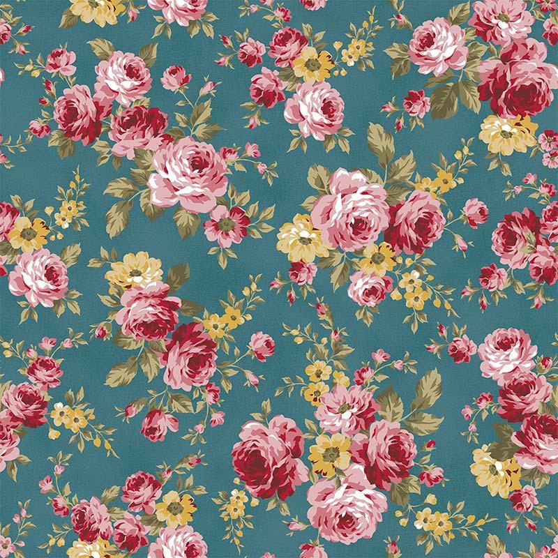 Fabricart Coleção 99 Exuberance - Grand Floral Turmalina - 50cm X150cm