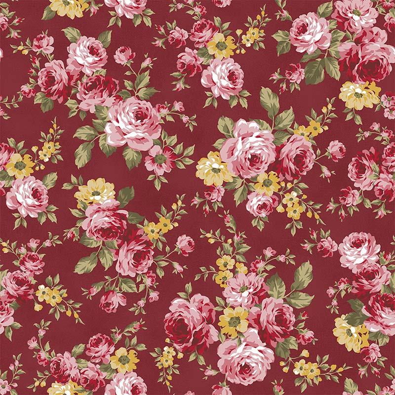 Fabricart Coleção 99 Exuberance - Grand Floral Vinho - 50cm X150cm