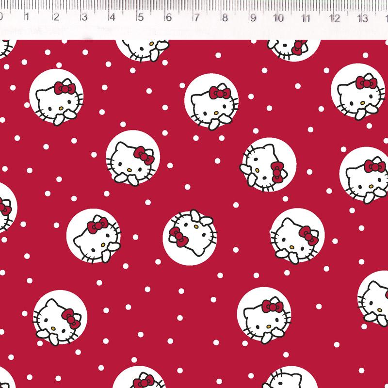 Fernando Maluhy - Coleção Hello Kitty - Dot Fundo Vermelho - 50cm X 150cm