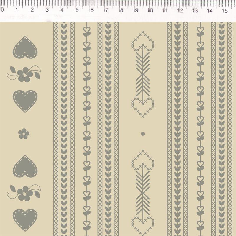 Fernando Maluhy - Coleção Passion - Linho Misto Estampado - Listras Coração Ponto Cruz Cinza - 50cm X 140cm
