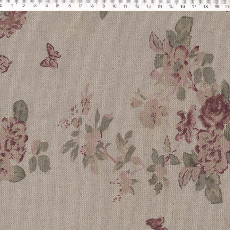 Fernando Maluhy - Coleção Rose Garden -  Linho Estampado - Flora Rosa - Manu- 50cm X150cm