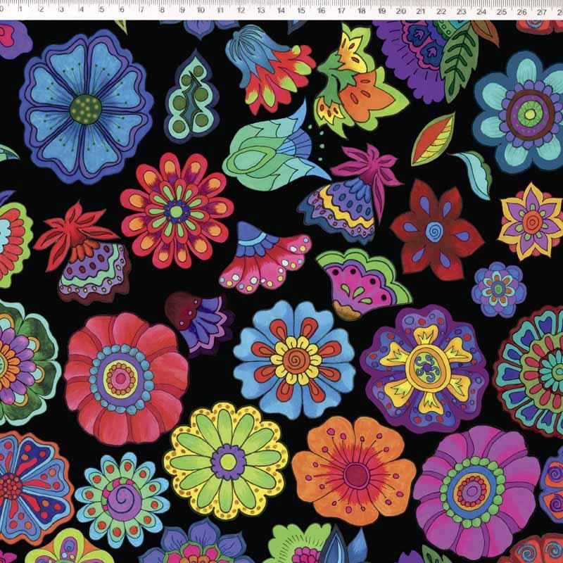 Fernando Maluhy - Coleção Marina Landi - Flowers Fundo Preto - 50cm X 150cm