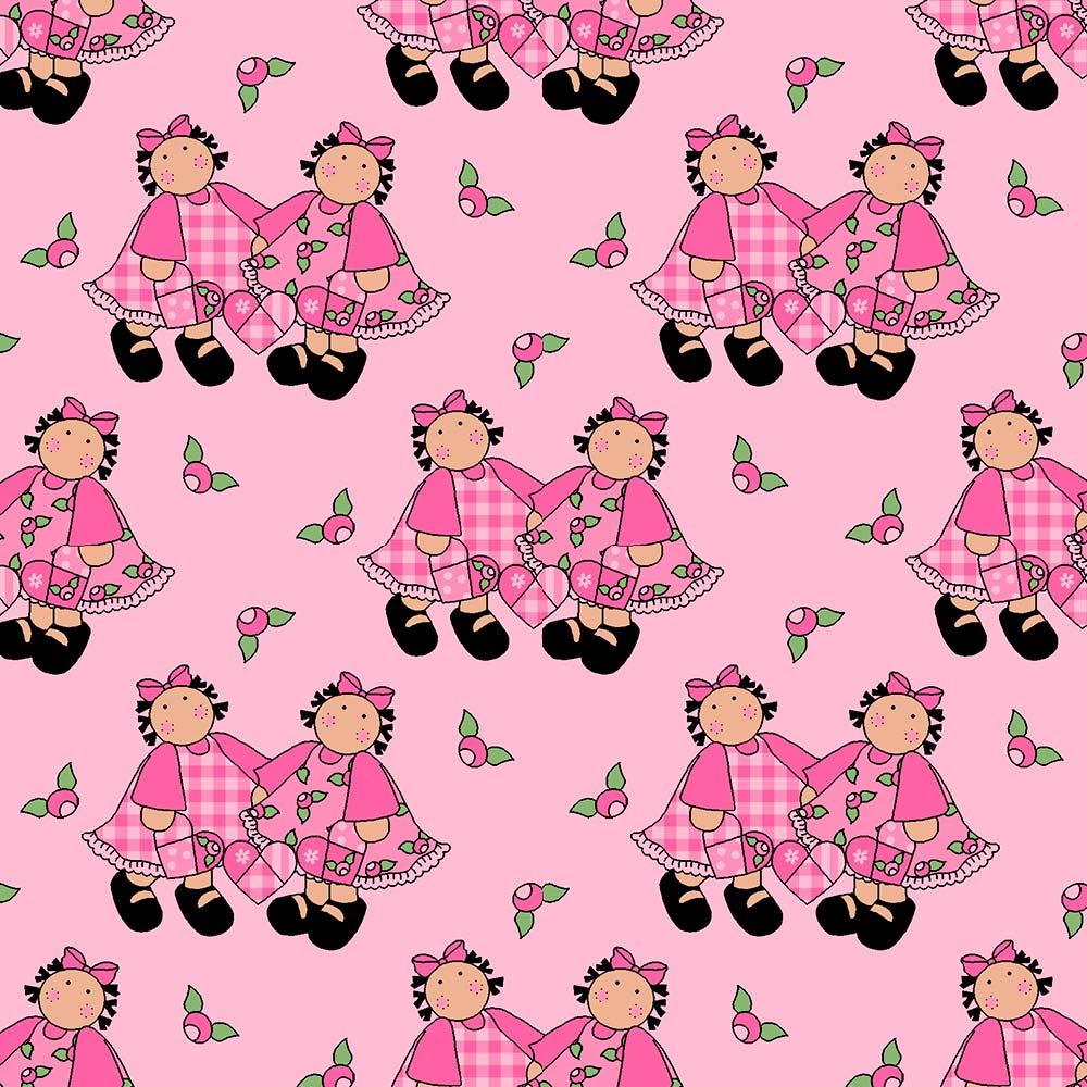 Fabricart Coleção Menininhas - Meninas Com Corações Rosa - 50cm X150cm