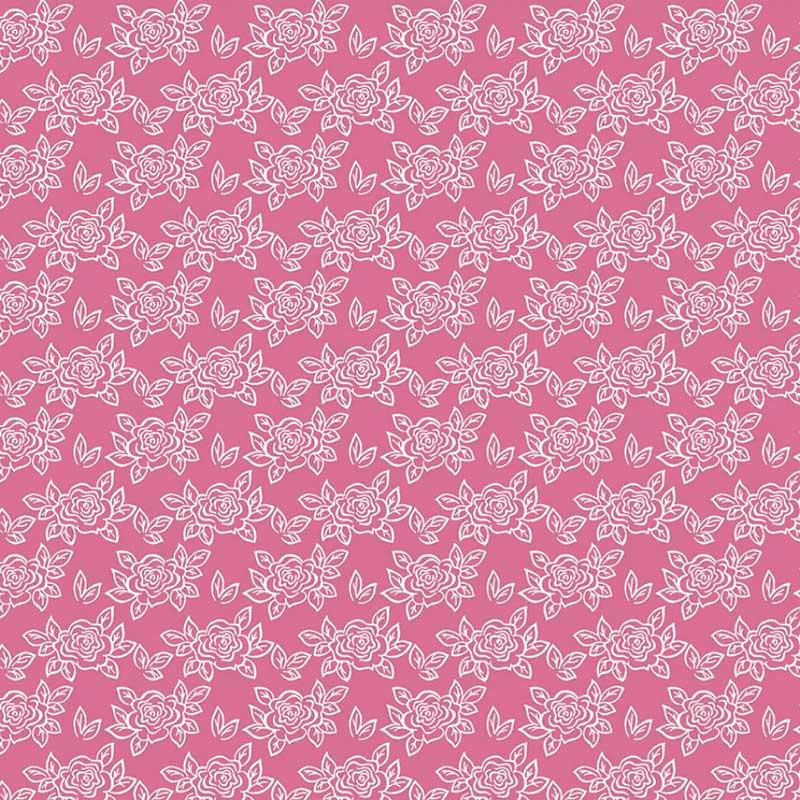 Fabricart Coleção Basics & Colors - Florais - Rosinhas Pink - 50cm X150cm