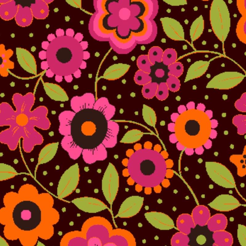 Eva e Eva Coleção Alegria - Estampa Alegria Floral Marrom - 50cm x 150cm