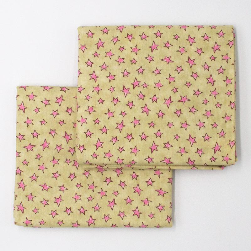 Caldeira Coleção Conto de Fadas - Estampa Estrelinha Creme com Rosa - 50cm x 150cm