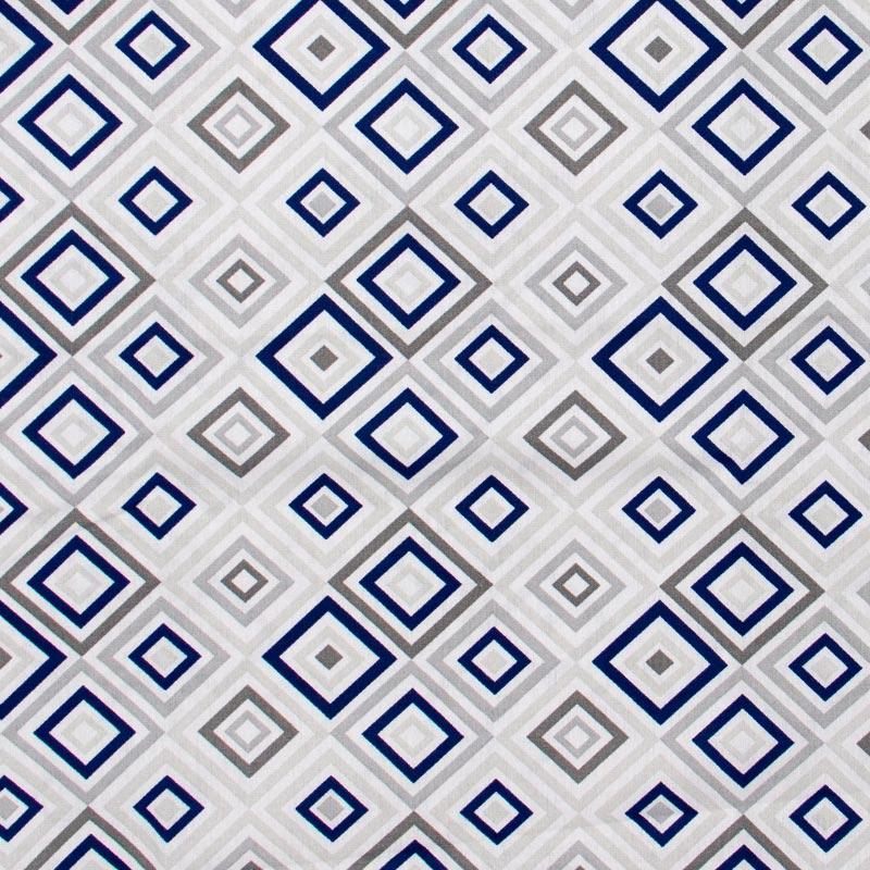 Caldeira - Losango Azul e Cinza Fundo Cinza Claro  - 50cm x 150cm