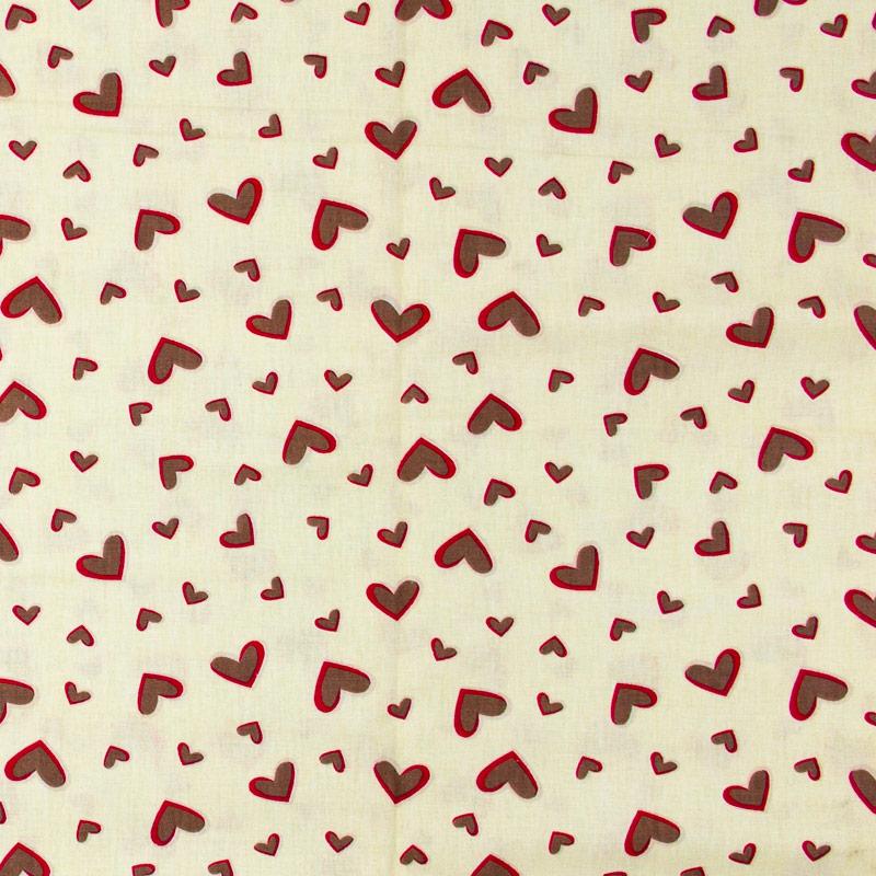 Corações Vermelho Cinza Fundo Bege - 50cm X150cm