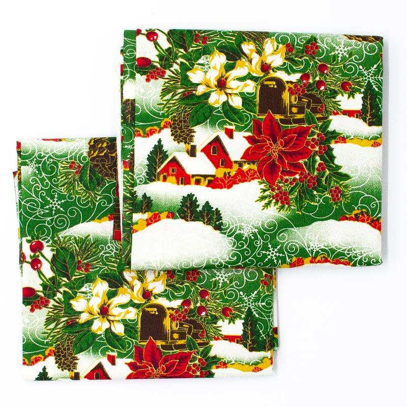 Caldeira - Coleção Natal - Cena de Natal Fundo Verde  - 50cm X150cm