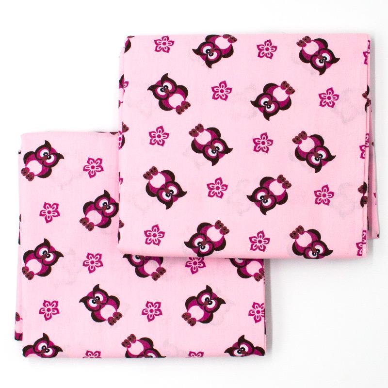 Decorart - Estampa Corujas Fundo Rosa - 50cm x 150cm