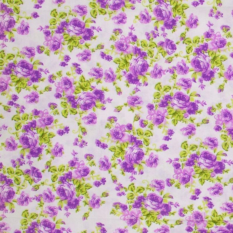 Decorart - Floral Roxo Com Fundo Roxo Claro - 50cm x 150cm