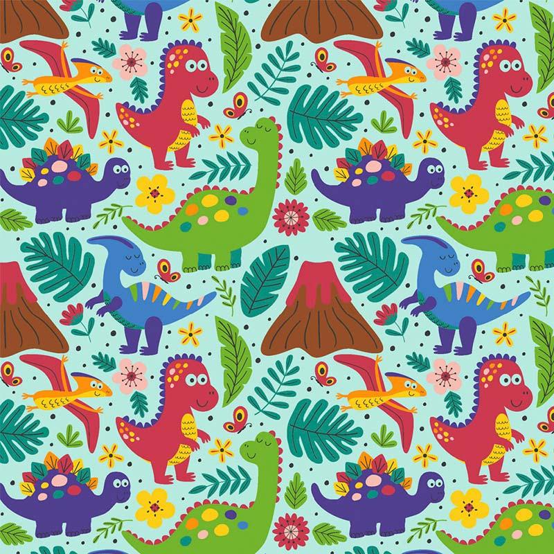 Fabricart - Coleção 116 Colors - Estampa Dino Azul - 50cm X150cm