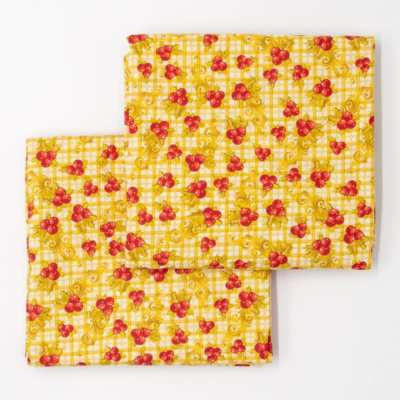 Estilotex - Coleção Natal - Bolas de Natal Com Xadrez Amarelo - 50cm X150cm