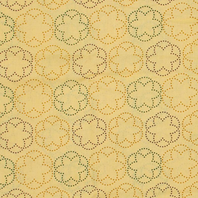 Estilotex - Flores Pontilhados Com Fundo Amarelo - 50cm x 150cm