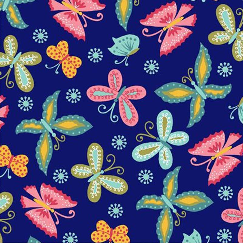 Eva e Eva Coleção Florescer - Estampa Florescer Borboletas Marinho - 50cm x 150cm
