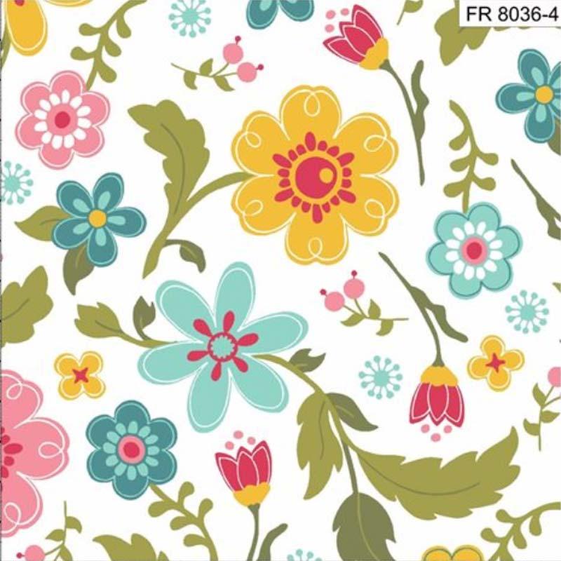 Eva e Eva Coleção Florescer - Estampa Floral Branco - 50cm x 150cm