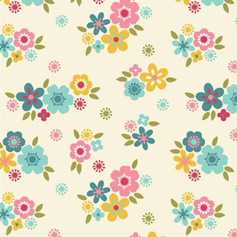 Eva e Eva Coleção Florescer - Estampa Florescer  Mini Flores Creme - 50cm x 150cm