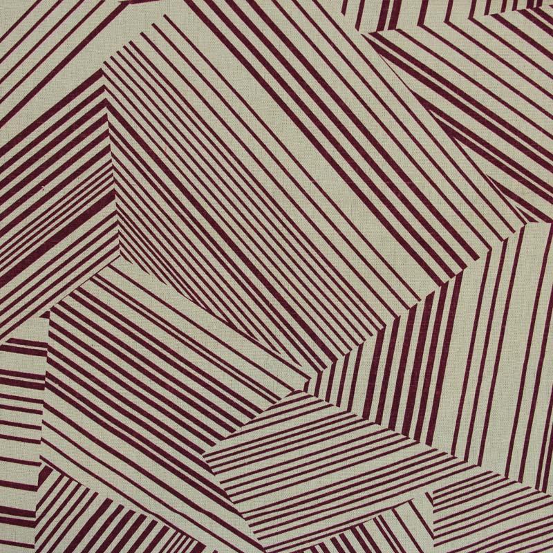 Linho Misto - Estampa Abstrato Vermelho  - 50cm x 140cm