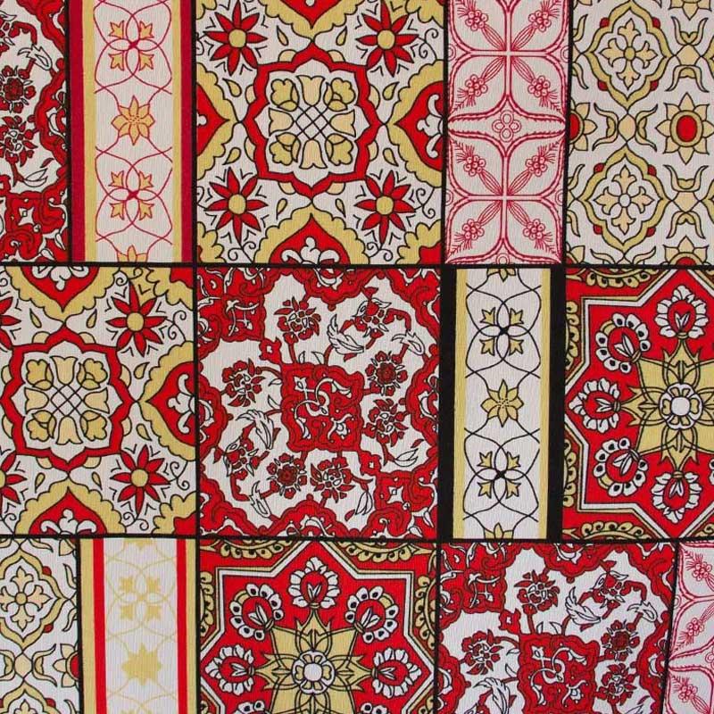 Gorgurão Estampado Mandalas Vermelho 50cm x 140cm