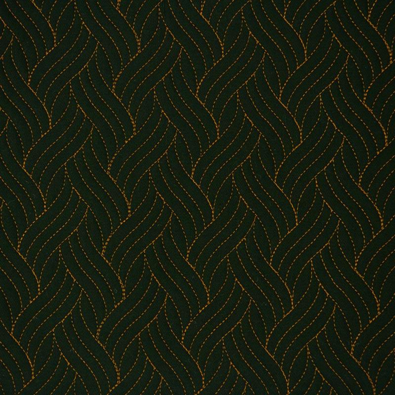 Tecido Matelassado Sarja Trança Verde Escuro Linha Caramelo  - 50cm X 150cm