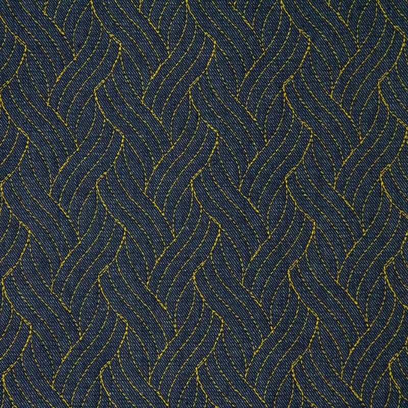 Tecido Matelassado Jeans Trança Linha Amarelo - 50cm X 150cm