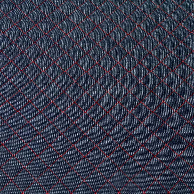 Tecido Matelassado Jeans Reto Linha Vermelho - 50cm X 150cm