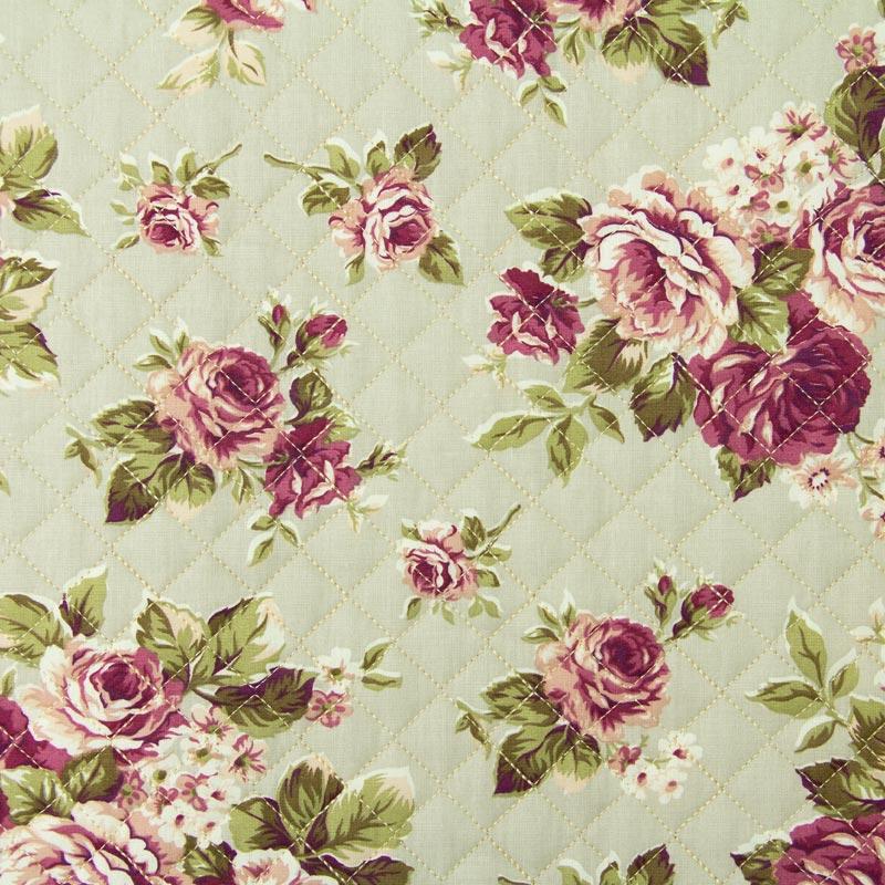 Tecido Matelassado Tricoline Rosas - 50cm X 150cm