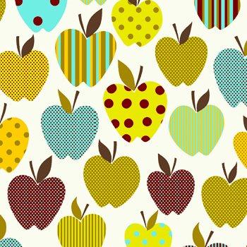 Eva e Eva Coleção Frutas - Maçãs Divertidas Branco - 50cm x 150cm