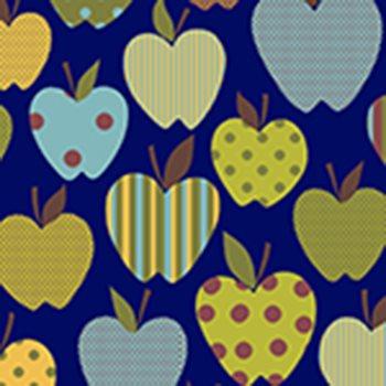 Eva e Eva Coleção Frutas - Maçãs Divertidas Marinho - 50cm x 150cm