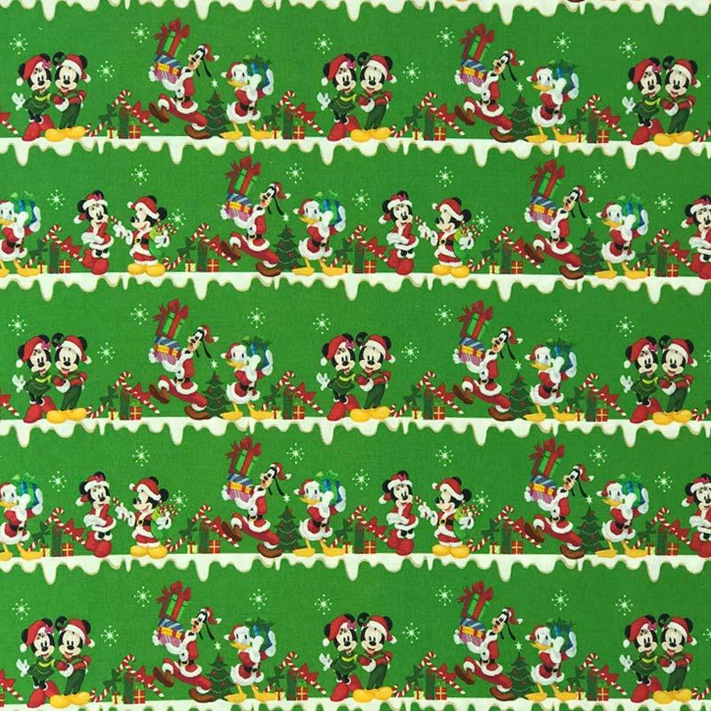 Fernando Maluhy - Coleção Disney Digital - Mickey e Minnie Verde  - 50cm X150cm