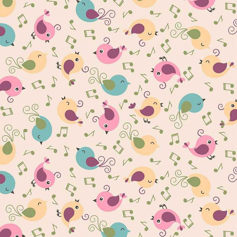 Fabricart Coleção Som dos Pássaros - Passarinhos Cantores Rosa - 50cm X150cm