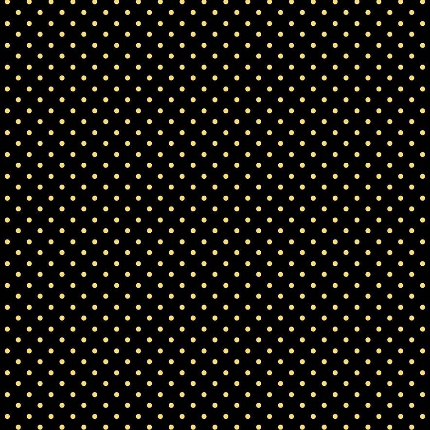 Fabricart Coleção Chiken - Poá Amarelo no Preto - 50cm X150cm