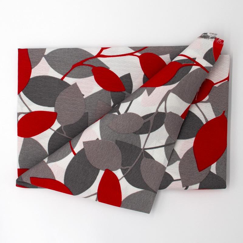 Tecido Gorgurão - Folhas Vermelho e Cinza - 50cm x 140cm