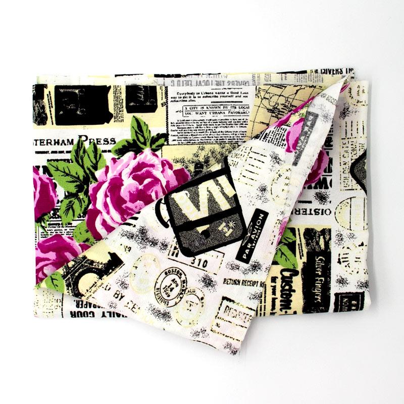Tecido Gorgurão - Rosas Com Jornal - 50cm x 140cm
