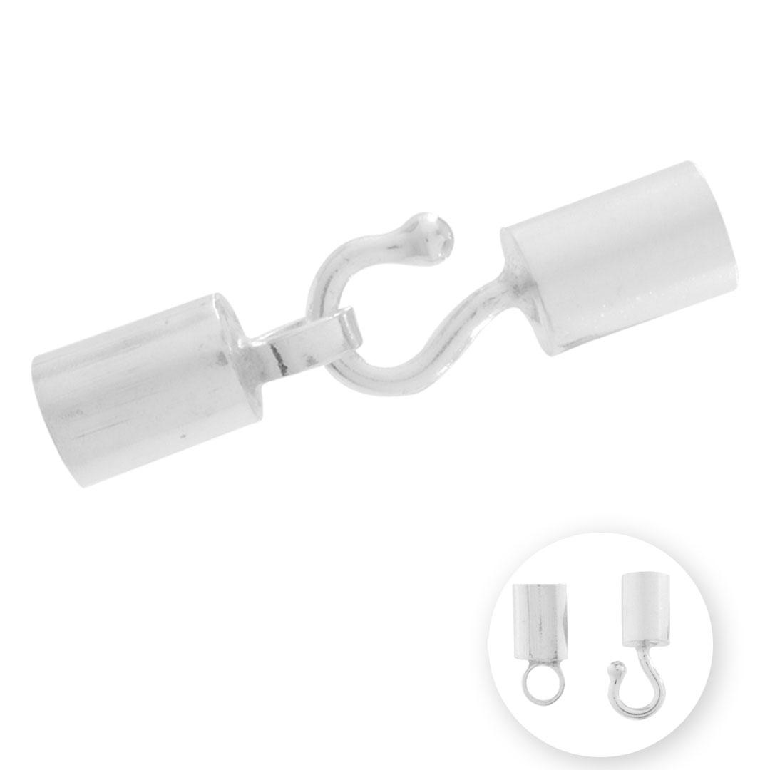 ponteira terminal de prata para couro e cordão