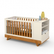 Berço Multifuncional Bkids Matic Off White Freijó/Eco Wood