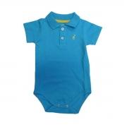 Body Infantil Gola Polo Azul Turquesa Toffee - Nº6 a 9 meses