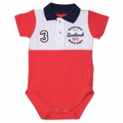 Body Infantil Gola Polo com Recorte Toffee Cor Vermelho - Nº0 a 3 meses
