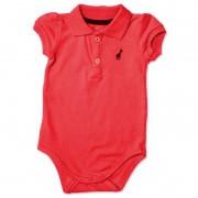 Body Infantil Gola Polo Vermelho Toffee 6-9 Meses