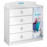 Cômoda Infantil Frozen Star 4 Gavetas 1 Porta Pura Magia