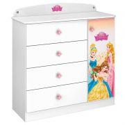 Cômoda Infantil Princesas Disney Star 4 Gavetas 1 Porta Pura Magia Cor Branco