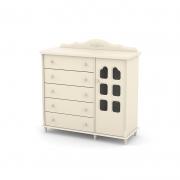 Cômoda Provence Slim 5 Gavetas 1 Porta Matic Off White