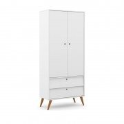 Guarda Roupa 2 Portas Gold Matic Branco Soft/Eco Wood