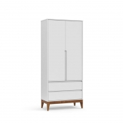 Guarda Roupa Nature Clean 2 Portas Matic Cor Branco Eco Wood
