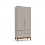 Guarda Roupa Nature Clean 2 Portas Matic Cor Cinza Eco Wood