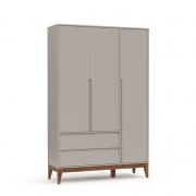 Guarda Roupa Nature Clean 3 Portas Matic Cor Cinza Eco Wood